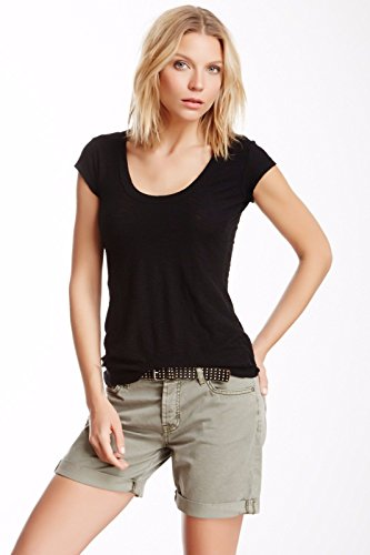 JAMES PERSE CASUAL SHEER CAP SLEEVE TEE IN BLACK 3 James Cap Sleeve T-shirt
