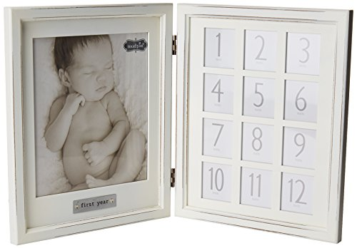 Baby's First Year Hinged Double Picture Frame (Frame Mud Picture Pie Wood)