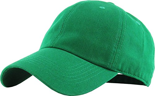 (KB-LOW KGN Classic Cotton Dad Hat Adjustable Plain Cap. Polo Style Low Profile (Unstructured) (Classic) Kelly Green Adjustable)
