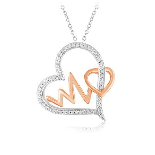 CARATS FOR YOU Dual Tone .925 Sterling Silver with 10K Rose Gold 0.20ct Genuine Real Round Cut Natural Diamond Heart Heartbeat Pendant Chain Necklace For Women 16 inch from CARATS FOR YOU