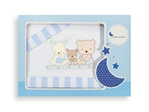 Interbaby Parure pour Berceau Love Bleu 04100-11