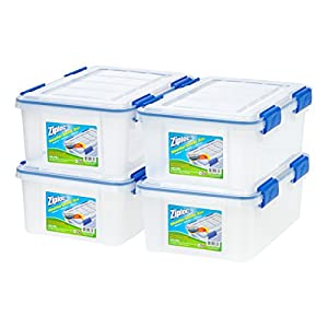 Ziploc Weathershield Storage Box, 16 Quart, Clear, 4 Pack