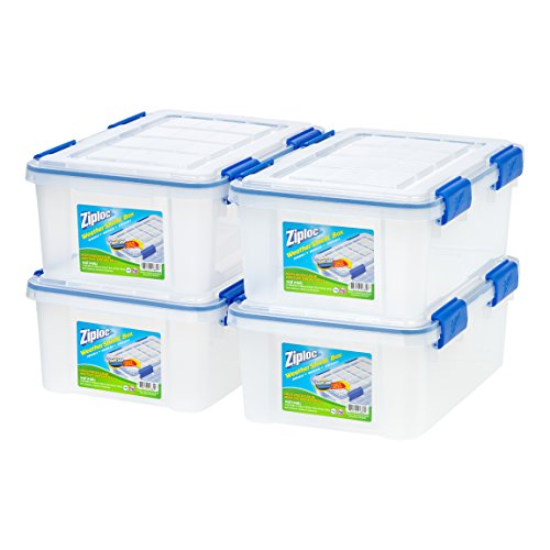 Ziploc Weathershield Storage Box, 16 Quart, Clear, 4 Pack (Tote Easy Zip)