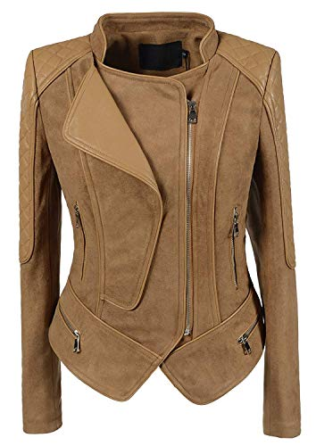 chouyatou Women's Fashion Faux Suede-Pu Leather Quilted Biker Jacket (X-Small, Camel)