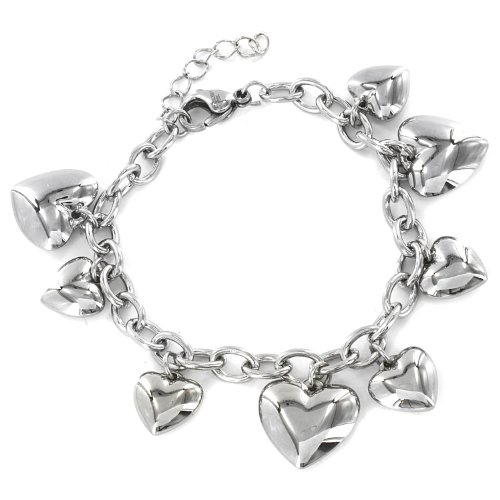 "West Coast Jewelry | ELYA Women's Stainless Steel Polished Heart Charm Dangle Bracelet - 6.5"""