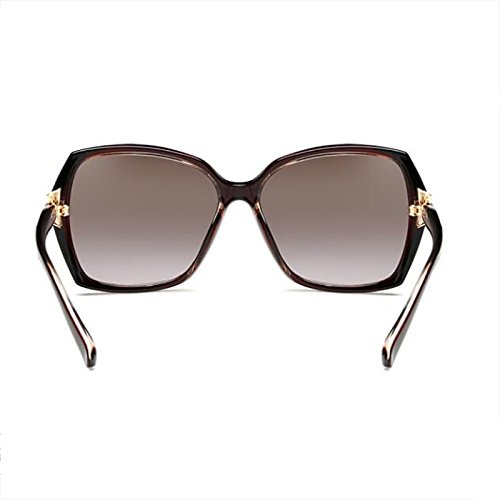 Polarizer de sol redonda Glasses Cara Gafas larga Bright Elegante de Cara de Big UV Resina Color Face black Marrón sol protección cuadradas Gafas WLHW femeninas Hwq064II