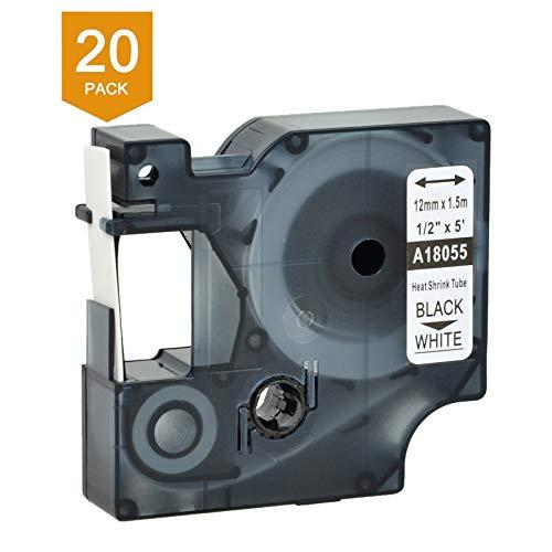 (Nineleaf 20 PK Compatible for DYMO 18055 Rhino Heat Shrink Tube Industry Label Tape 1/2