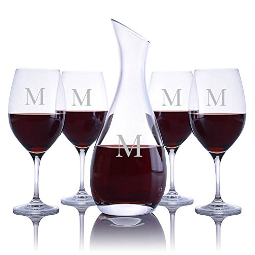 Personalized Ravenscroft Lead-free Crystal Cristoff Wine Decanter & 4 Stemmed Vintner's Choice Bordeaux/Merlot / Cabernet Red Wine Glasses Engraved & Monogrammed - Great Housewarming or Wedding ()