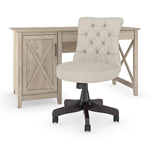 - Bush Furniture Key West 54W Computer Desk with Mid Back Tufted Office Chair in Washed Gray