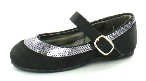 Flats Black On Sequin Spot Ballerina Girls Detail 6fwqX