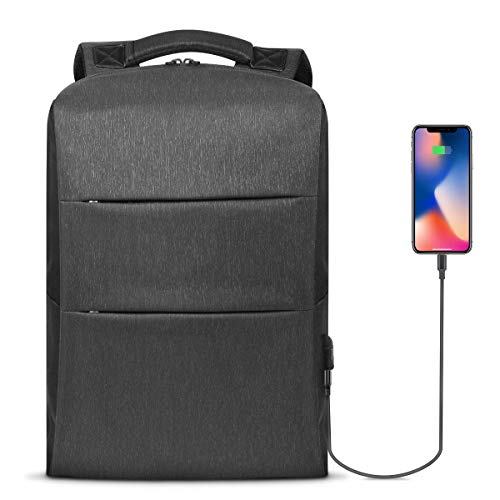 Business Laptop Backpack with USB Charging Port and Lock 15.6 Inch Computer Backpacks for Men&Women Anti Theft Slim Durable Travel Backpack Waterproof College School Computer Bags (Volcanic ()