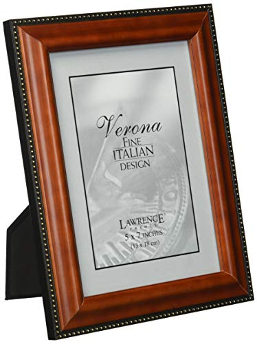 - Lawrence Frames Walnut Wood 5x7 Picture Frame - Gold Bead Design