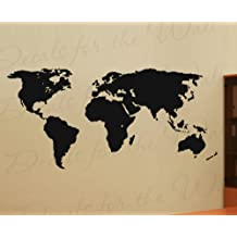 World Map Wall Mural Decal - Vinyl Graphic Earth - Sticker Art Decor Large Decoration Sign