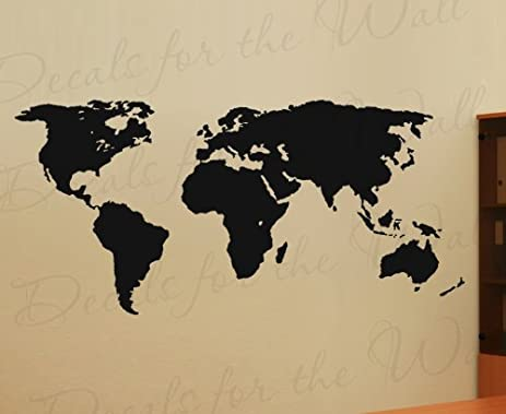 Amazon.com: Green World Map Wall Decal – Easy to Apply Modern Large ...