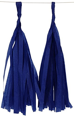 Just Artifacts Tissue Paper Tassel Garland KIT (Sailor) – 16 X Hanging Tassels – Navy Blue, Steel Blue, Royal Blue, Yellow Color Combination. Click for More Color Combinations!