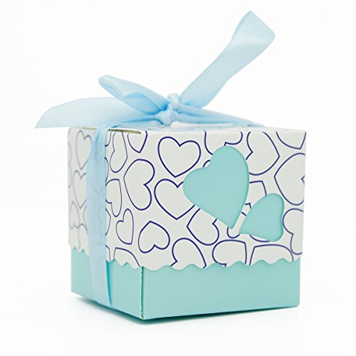 KAIL DIY Love Heart Candy Gift Boxes Wedding Bridal Favor Wedding Party Decor Kit 50pcs Blue