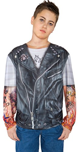 [Boys Biker Shirt Kids Child Fancy Dress Party Halloween Costume, M (6-8)] (Biker Kid Costume)