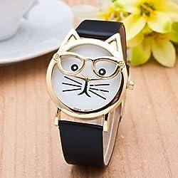 Sports Watches Relojes de Hombre Reloj Gato con Mujeres Gafas de Moda de Cuarzo Relojes de Mujer Reloj 2015 Relogio Correa de Cuero Feminino Nueva montre Caliente Relojes de Mujer