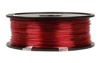 3D PETG 1KG 1.75mm Transparent Red PETG 3D Printer Filament, Diameter Tolerance +/- 0.05 mm, 1 KG Spool, 1.75 mm, Transparent Red