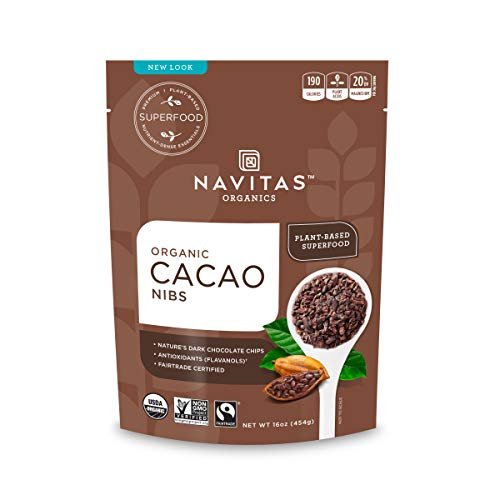 (Navitas Organics Raw Cacao Nibs, 16oz. Bag - Organic, Non-GMO, Fair Trade, Gluten-Free)