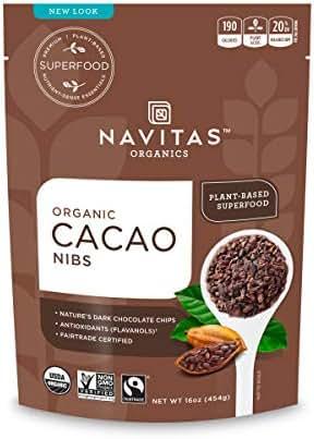 Navitas Organics Cacao Nibs, 16 oz. Bags (Pack of 2) — Organic, Non-GMO, Fair Trade, Gluten-Free