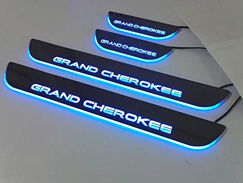 Nicebee 4pcs/Set Blue Lights LED Front & Rear Door Sill Entry Guard Bars Protection Cover Pedal for Jeep Grand Cherokee 2011-2016