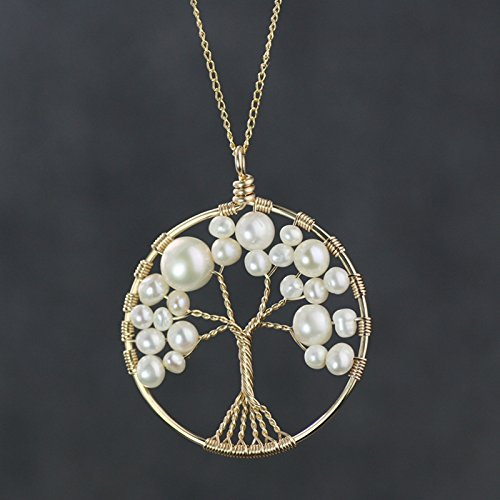NewDreamWorld Genuine Pearl Tree of Life Pendant with 18