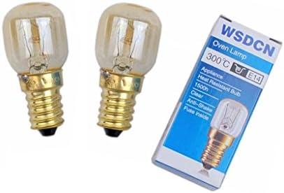 2 Pack, Fulfilled by Amazon, WSDCN E14 T25 25W 120V 120 Volt 125V 110V~130V Oven Light Bulb Heat Resistant Bulb 300'C