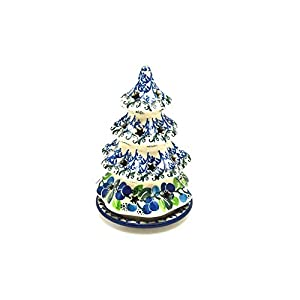 Polish Pottery Christmas Tree Luminary – Small (6″) – Blue Berries
