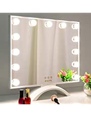 BEAUTME Makeup Mirror with Lights,Hollywood Lighted Vanity Mirror with LED UV Nail Dryer,Tabletop Beauty Mirror with 13pcs Lights Touch Screen Dimmer