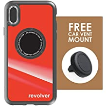 Ztylus iPhone X Gloss Red Revolver M Series Case & Vent Mount Combo: Drop Protection Cover Case with Magnetic Car Vent Mount for Apple iPhone
