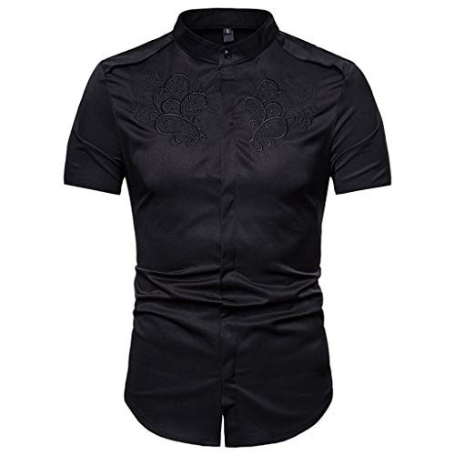 Button Down Shirts Men Hipster Casual Slim Fit Short Sleeve Tops with Embroidery