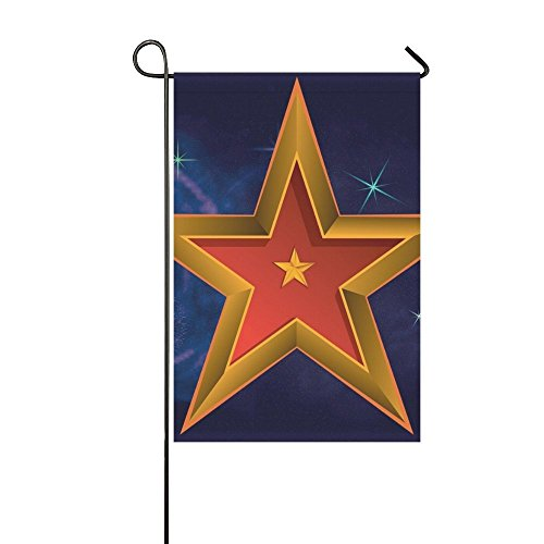 18k Gold Flag (RYUIFI Home Decorative Outdoor Double Sided Star Gold Style Sheen Luxury Beautiful Garden Flag,house Yard Flag,garden Yard Decorations,seasonal Welcome Outdoor Flag 12 X 18 Inch Spring Summer Gift)