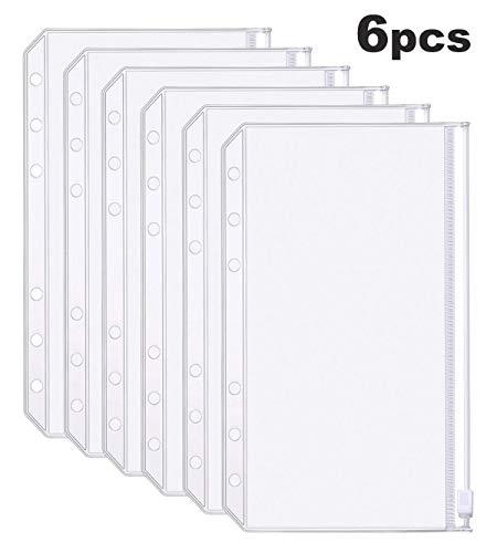 YoeeJob A6 Clear PVC Zipper Binder Pocket Insert,6 Holes Loose Leaf Notebook Refills Filler Organizer,Pack of 6