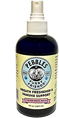 Pebbles Breath Freshener & Immune Support Spray • All Natural • NO Dangerous Chlorine Dioxide • Scientifically Shown to Eliminate The Causes of Bad Breath, Plaque and Tartar • 90 Day Supply