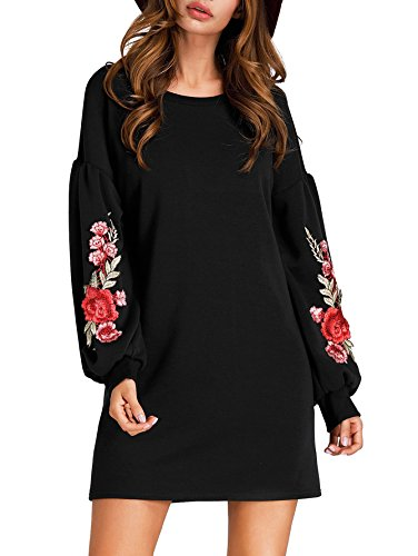 Romwe Womens Casual Floral Embroidered Lantern Long Sleeve Mini Dress