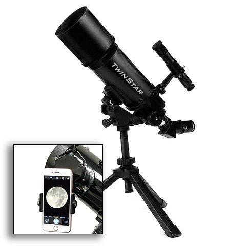AstroVenture Black Portable 80mm Refractor Telescope With Un