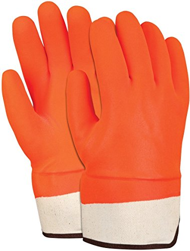 MCR Safety 6521SCO Double Dipped PVC Foam Lined Sandy Finish Men's Gloves with Rubberized Safety Cuff, Orange, Large, 1-Pair