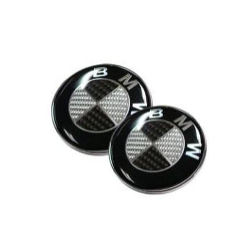 2pcs Runden Round Car Auto Black Carbon 82mm Front Hood & 73mm Back Trunk Round Compatible Replacement Emblem Logo Badge Fast Ship For (BMW)
