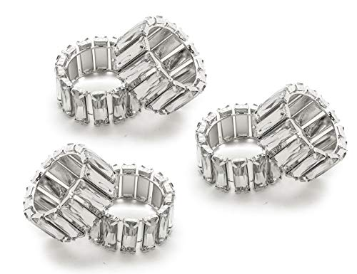 (LuReen 6pcs Bling Bling Napkin Rings for Home Kitchen Dining Room Table (Silver Rectangle))