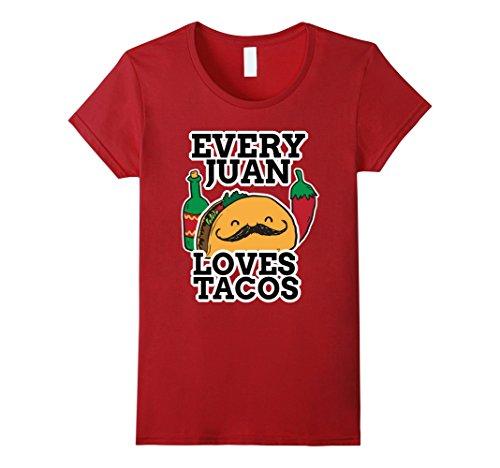 Womens Funny Juan Taco Shirt Large Cranberry