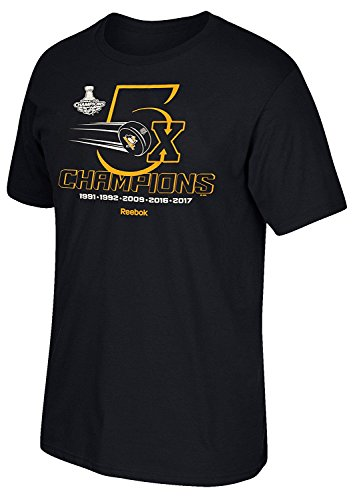 Reebok Pittsburgh Penguins Big 5X Champions Black Tee (Medium) ()