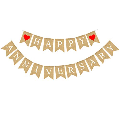 (Rainlemon Jute Burlap Happy Anniversary Banner Party Bunting Garland Decoration Supply)