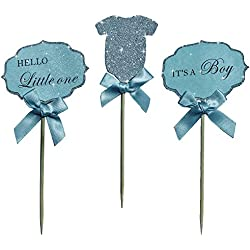 "Baby Boy Cupcake Toppers""Its A Boy"" &""Hello Little One"" & Silver Glitter BodySuit With Elegant blue Bow. A Special Baby Shower Party Decoration. (18)"