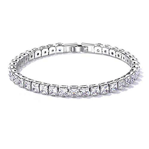 Feraco Tennis Crystal Bracelet for Women Sparkling Princess-Cut Cubic Zirconia Bangle Jewelry, 6.89inch