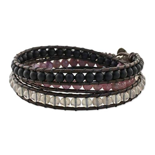 NOVICA Multi-Gem Rhodonite .925 Sterling Silver Beaded Bracelet, 20.5