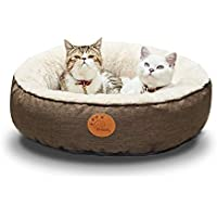 HACHIKITTY Round Indoor Cat Bed with Washable Removable Cover