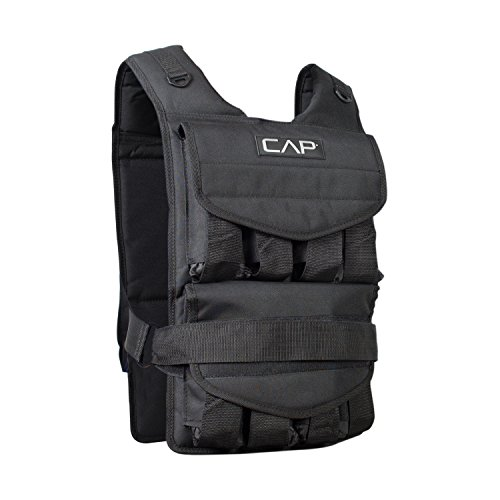 (CAP Barbell HHWV-CB080 Adjustable Weighted Vest, 80 lb, Black, 80-Pound)