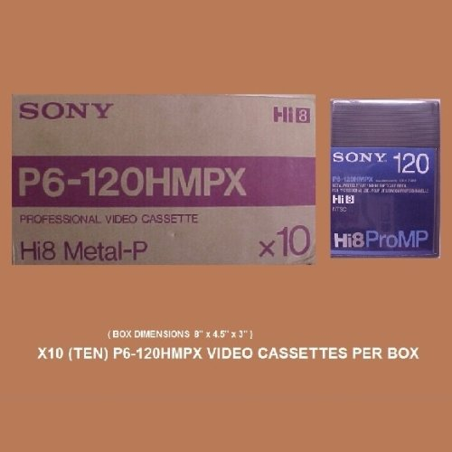 SONY P6-120HMPX Hi8 Video Cassettes - Box of 10 by Sony