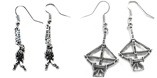 Pair Halloween Costumes For Teenage Girls (The Walking Dead Walker Zombie Hunter and Darryl Cross Bow Earrings w/Gift Box)